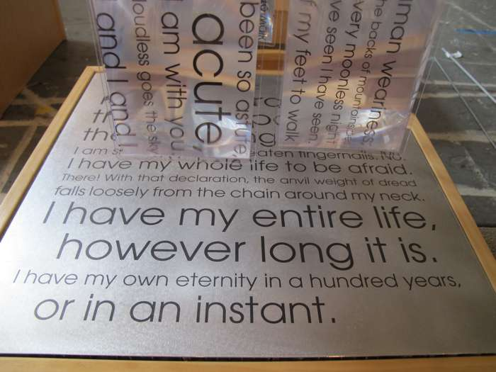 fresnel/words/poems printed on aluminum panel